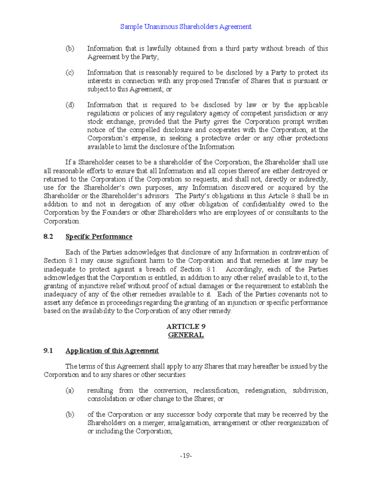 Shareholder Buyout Agreement Template 28 Images Shareholder