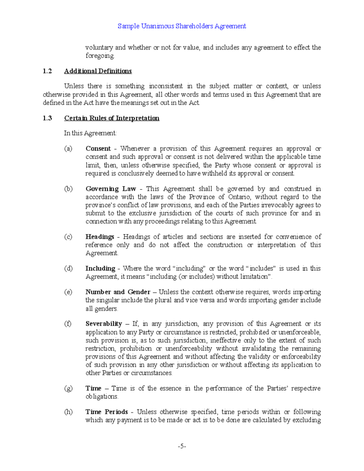 Sample Unanimous Shareholder Agreement Free Download