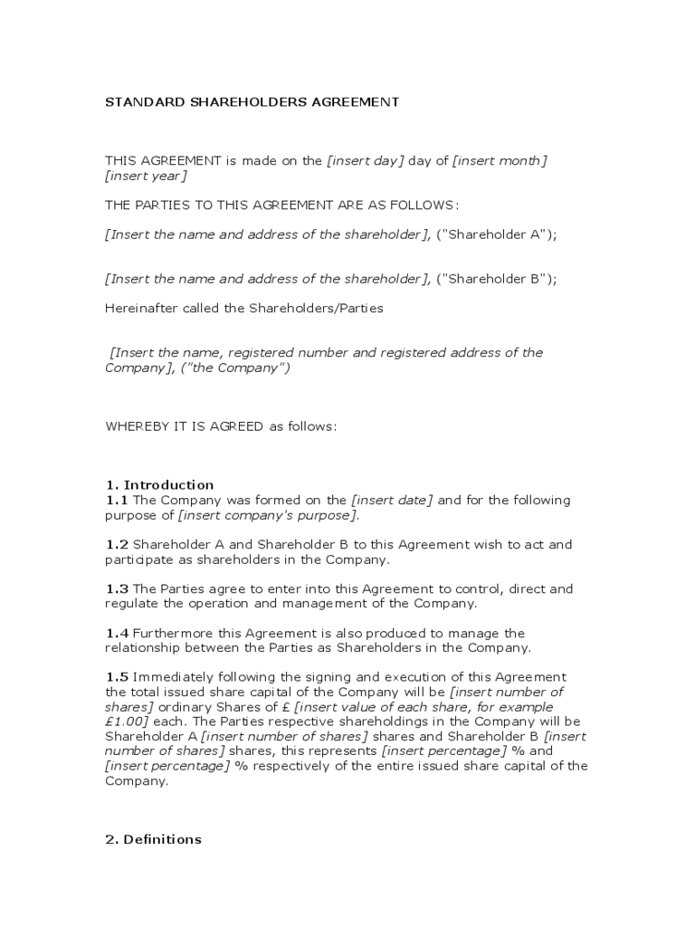 shareholder agreement 5 free templates in pdf word excel download