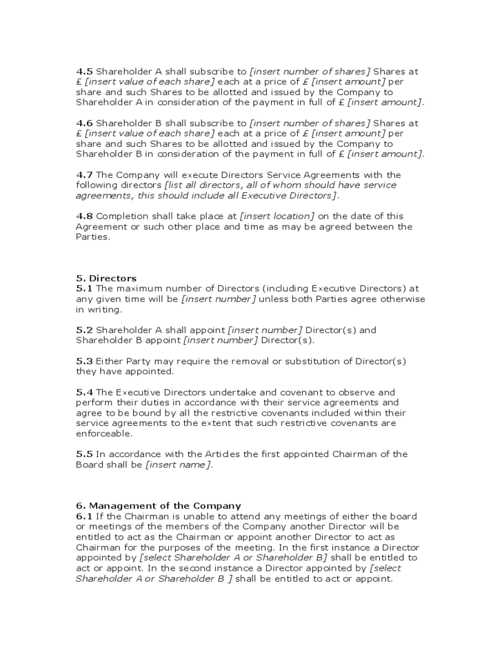 Standard Shareholders Agreement Template