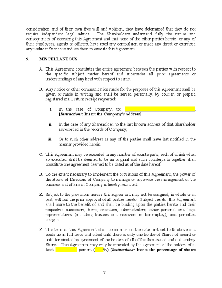 Blank Shareholders Agreement Template Free Download
