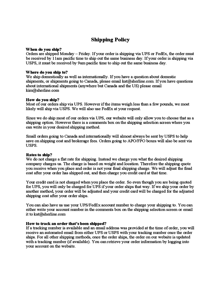 shipping policy sherline free download