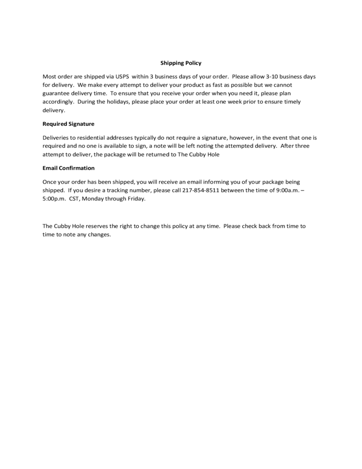 Shipping Policy Sample Template Free Download