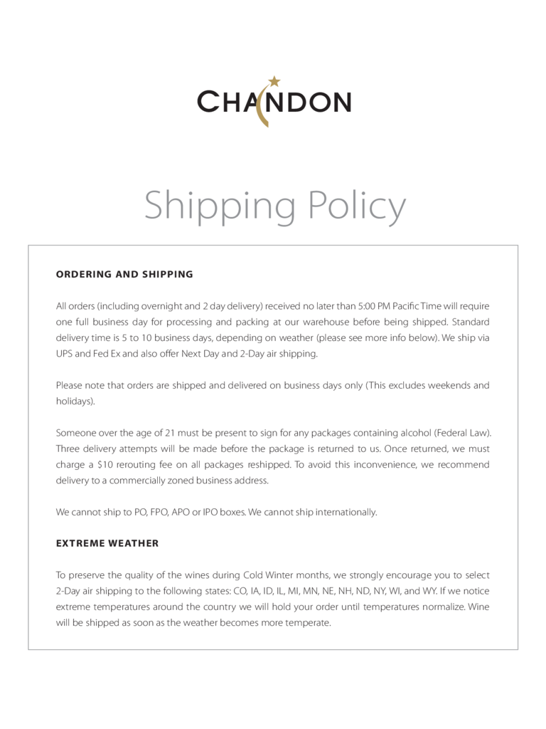 shipping policy domaine chandon california