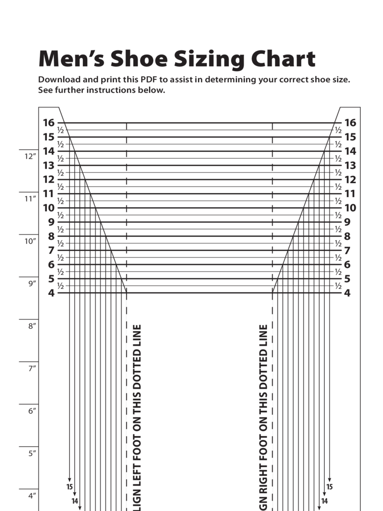 Men's Shoe Sizing Chart