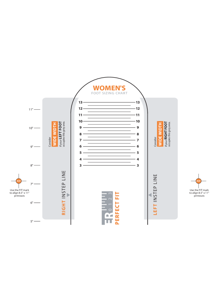 Sample Women's Shoe Sizing Chart