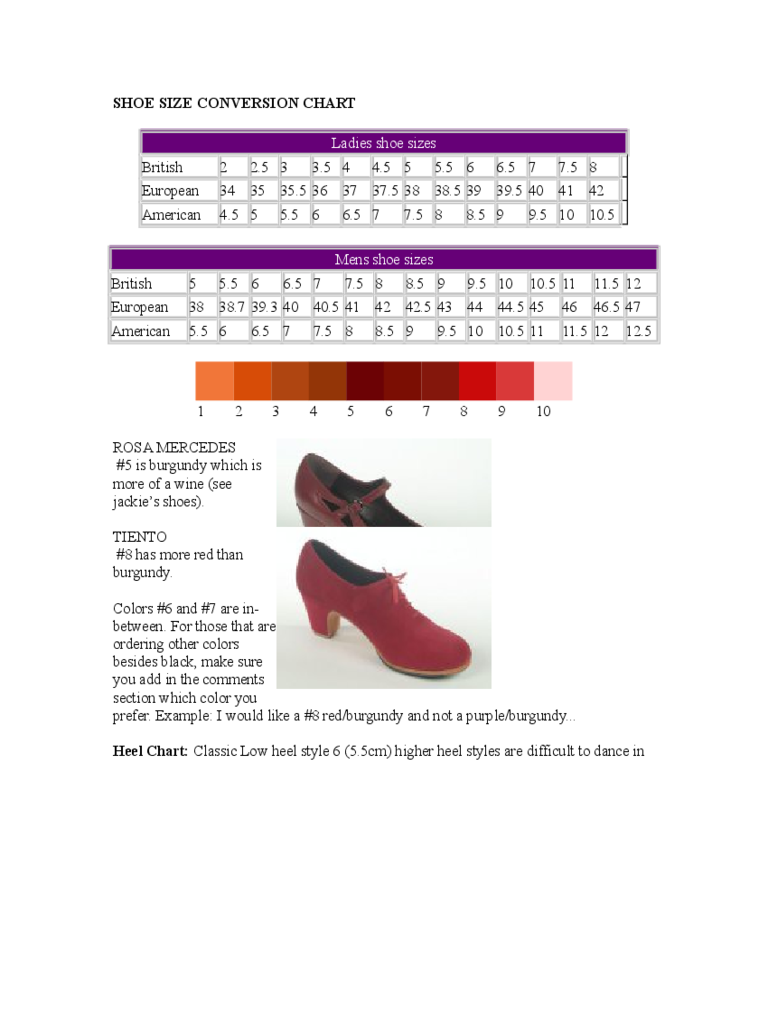 Ladies and Men Shoe Size Conversion Chart