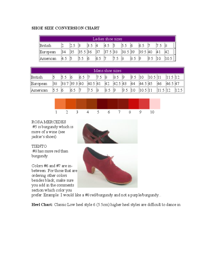 Ladies And Men Shoe Size Conversion Chart Free Download