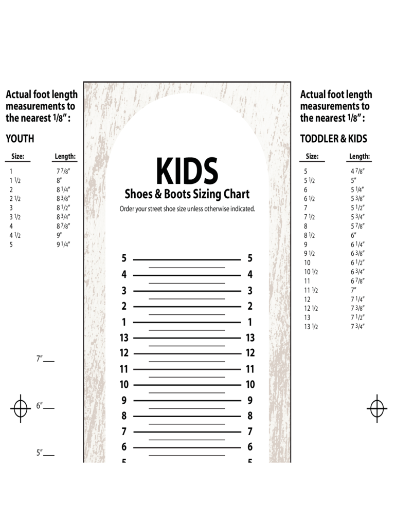 Kids Shoes and Boots Sizing Chart