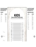 Kids Shoes and Boots Sizing Chart Free Download