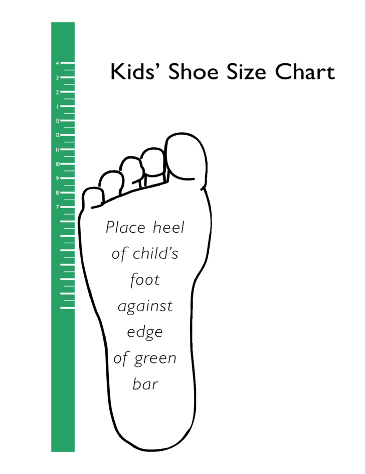 Standard Shoe Size Chart for Kids