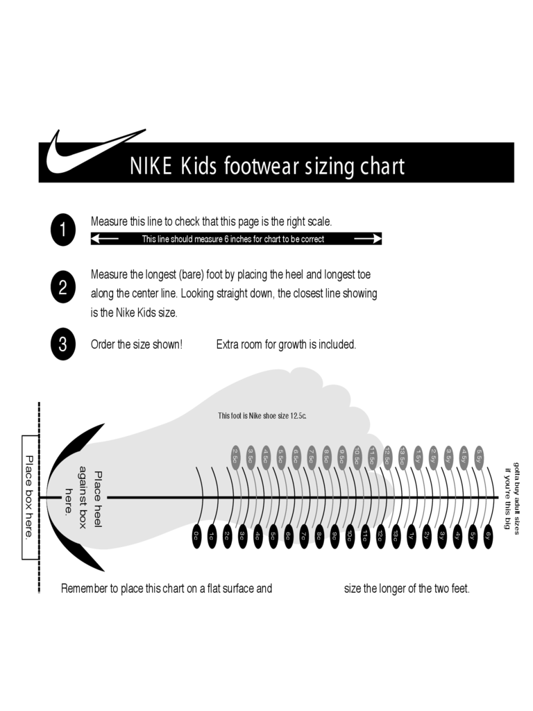 Nike Kids Footwear Sizing Chart