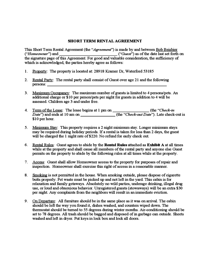 short term lease agreement template – Short Term Rental Contract Form