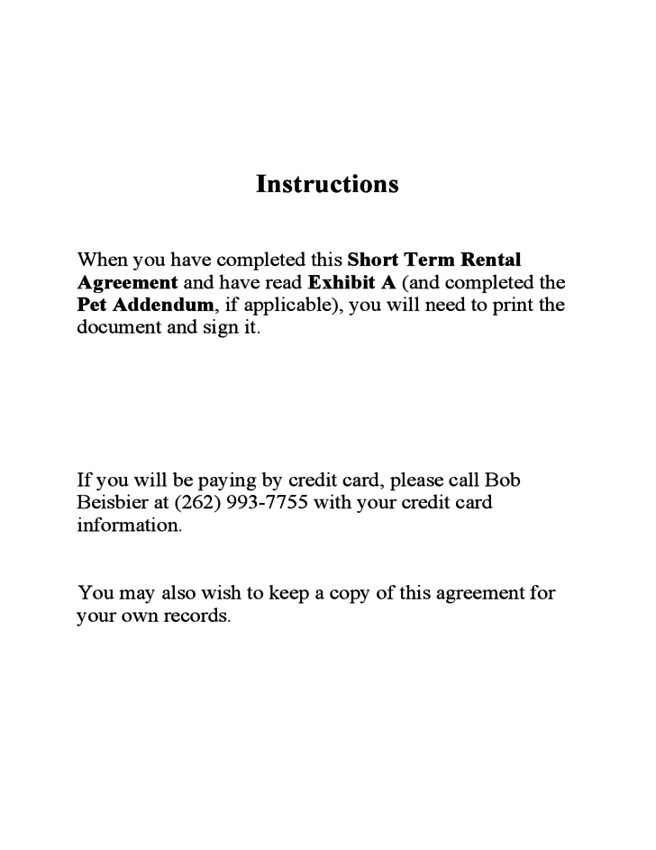 Short Term Rental Contract Sample Form