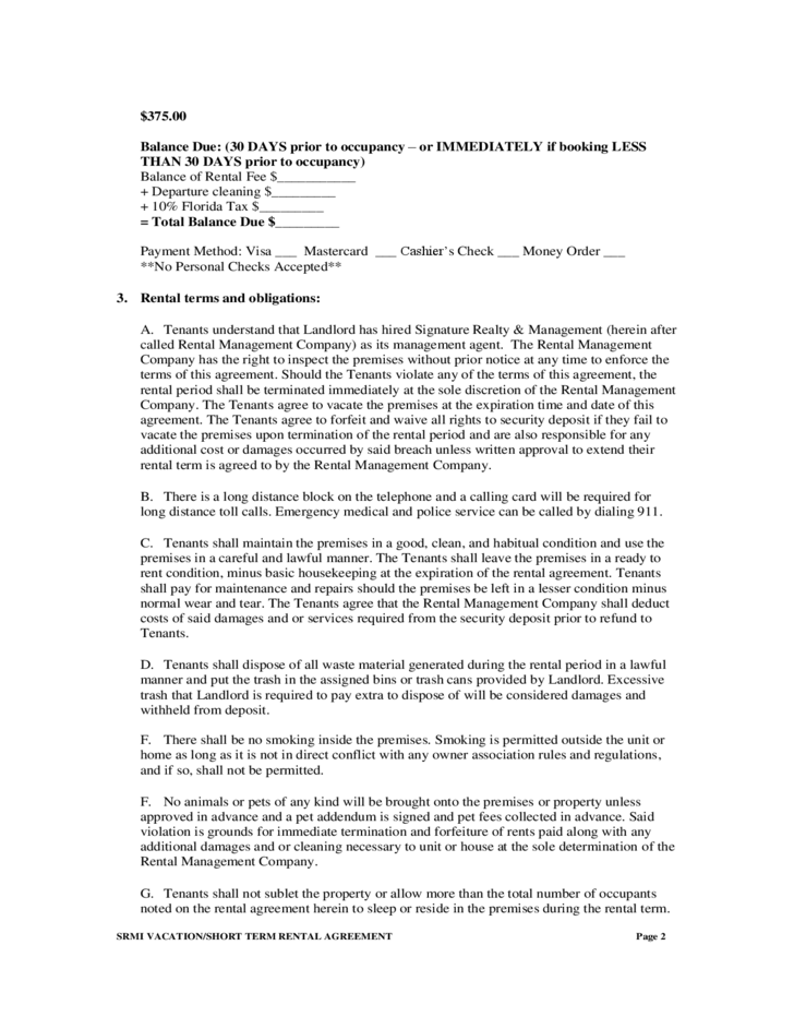 Short Term Rental Agreement Free Download – Short Term Rental Contract Form
