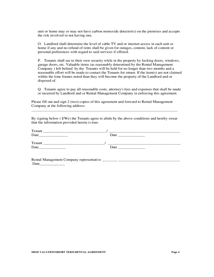 Short Term Rental Agreement Free Download