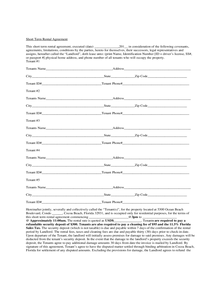 Short Term Rental Contract Form - Florida