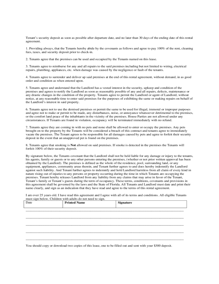 Short Term Rental Contract Form Florida Free Download – Short Term Rental Contract Form