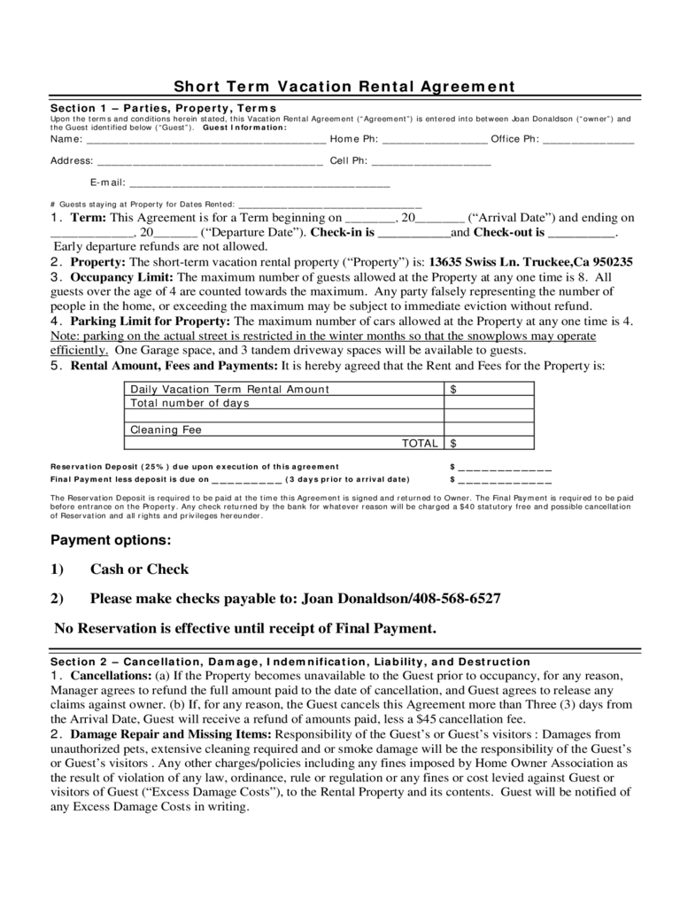 Short Term Rental Contract Form - California