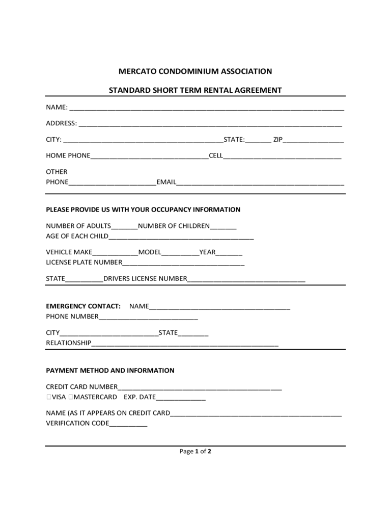 Short Term Rental Contract Form - Michigan