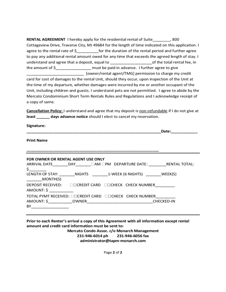 Short Term Rental Contract Form Michigan Free Download – Short Term Rental Contract Form