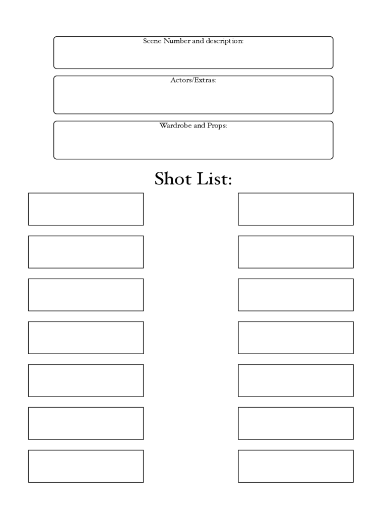 Blank Shot List Template
