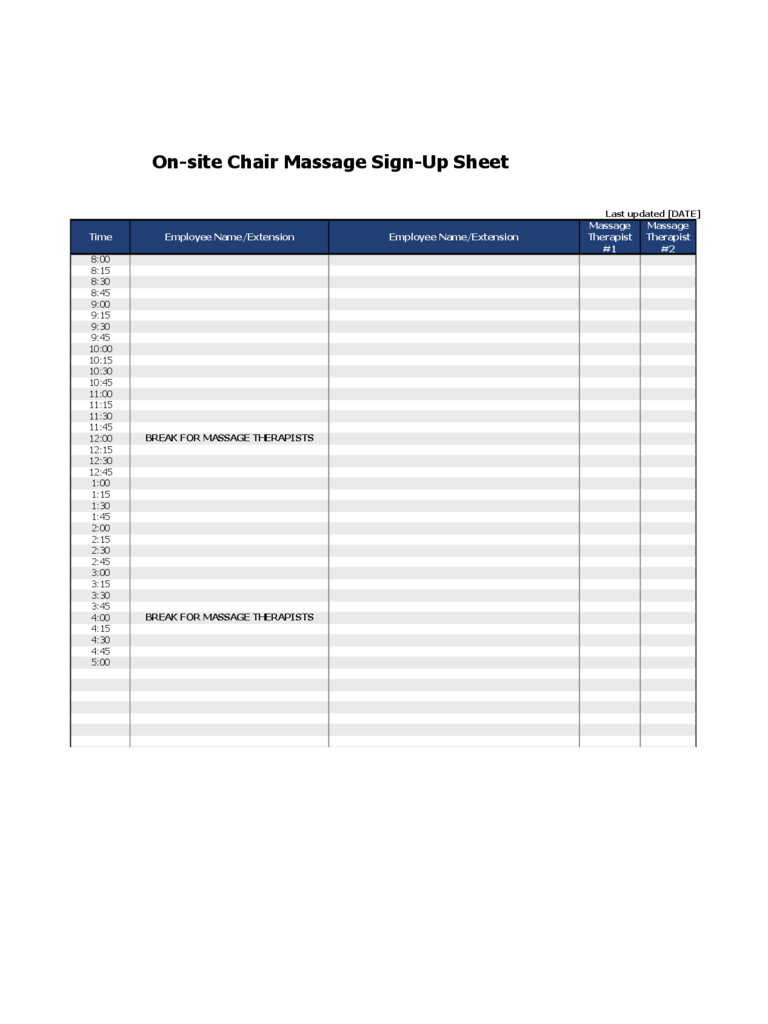 Sign Up Sheet Example