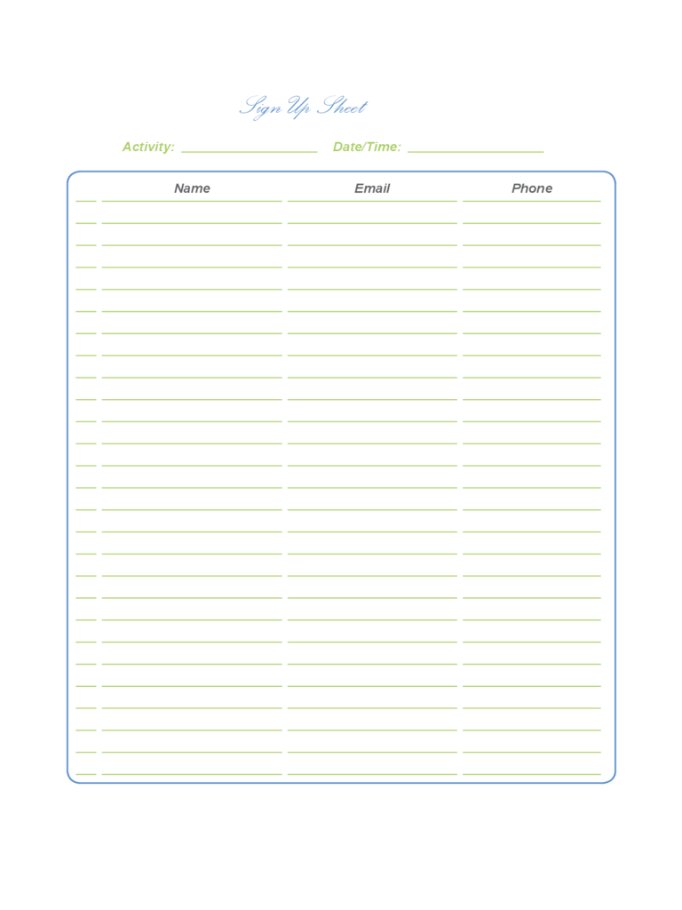Instant Resume Templatessign up sheet example excel attendance – Sample Sign Up Sheet