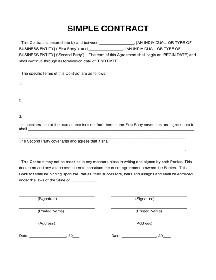 Simple contract sample free download for Basic contract of employment template