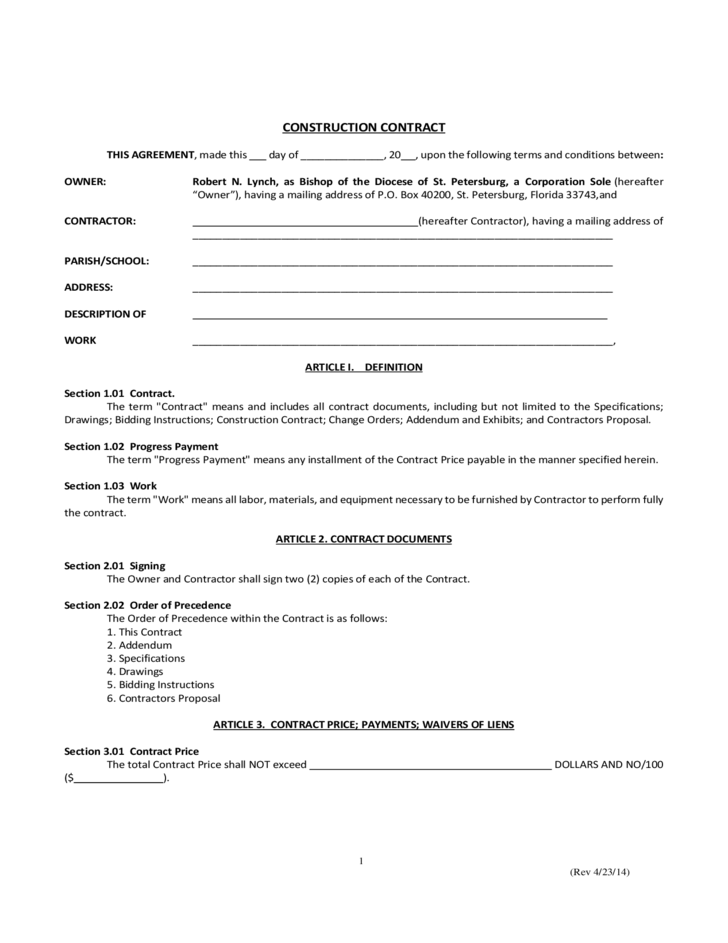 Simple Construction Contract Free Download – Simple Construction Contract Form