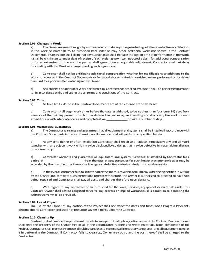 Simple Construction Contract Free Download – Simple Construction Contract