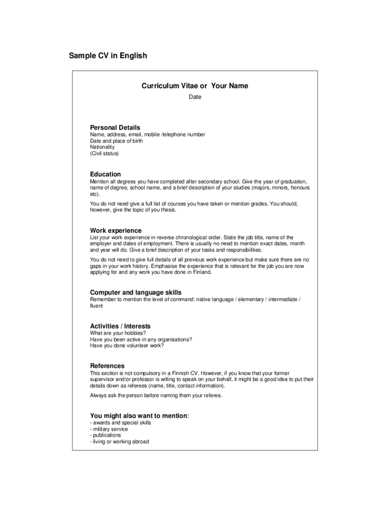 Simple CV Example