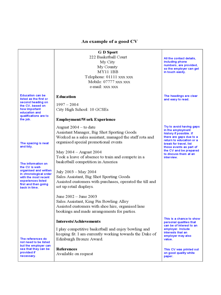 Simple CV Example on One Page