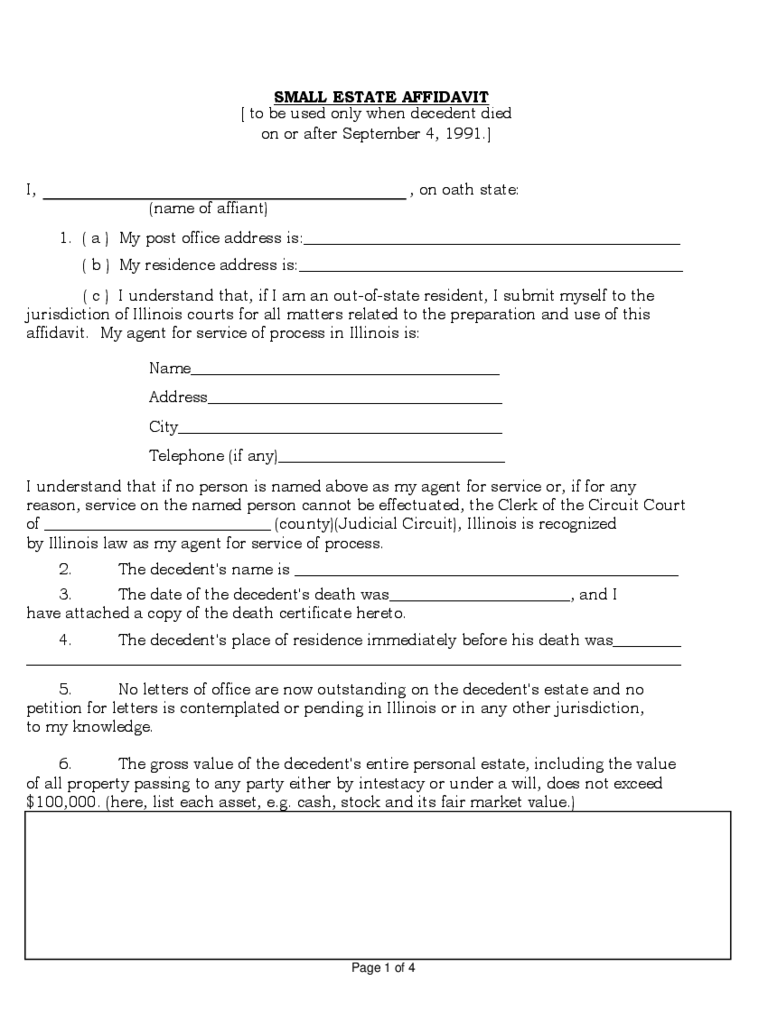 small estate affidavit form sample free download