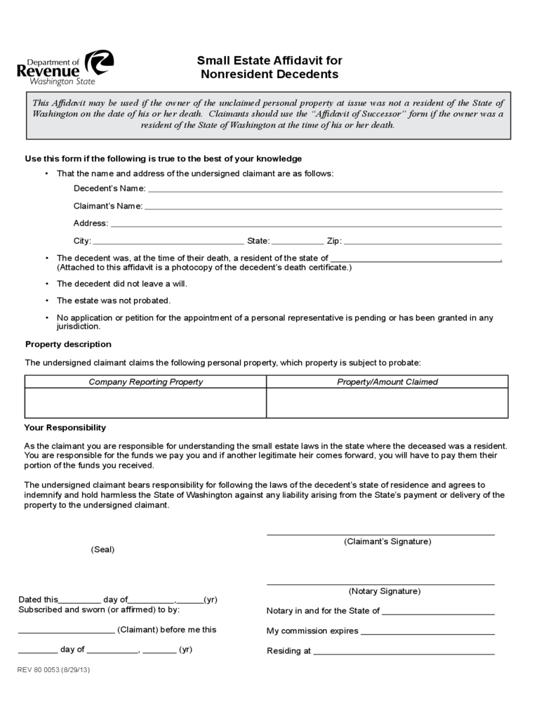 Small Estate Affidavit for Nonresident Decedents Free Download