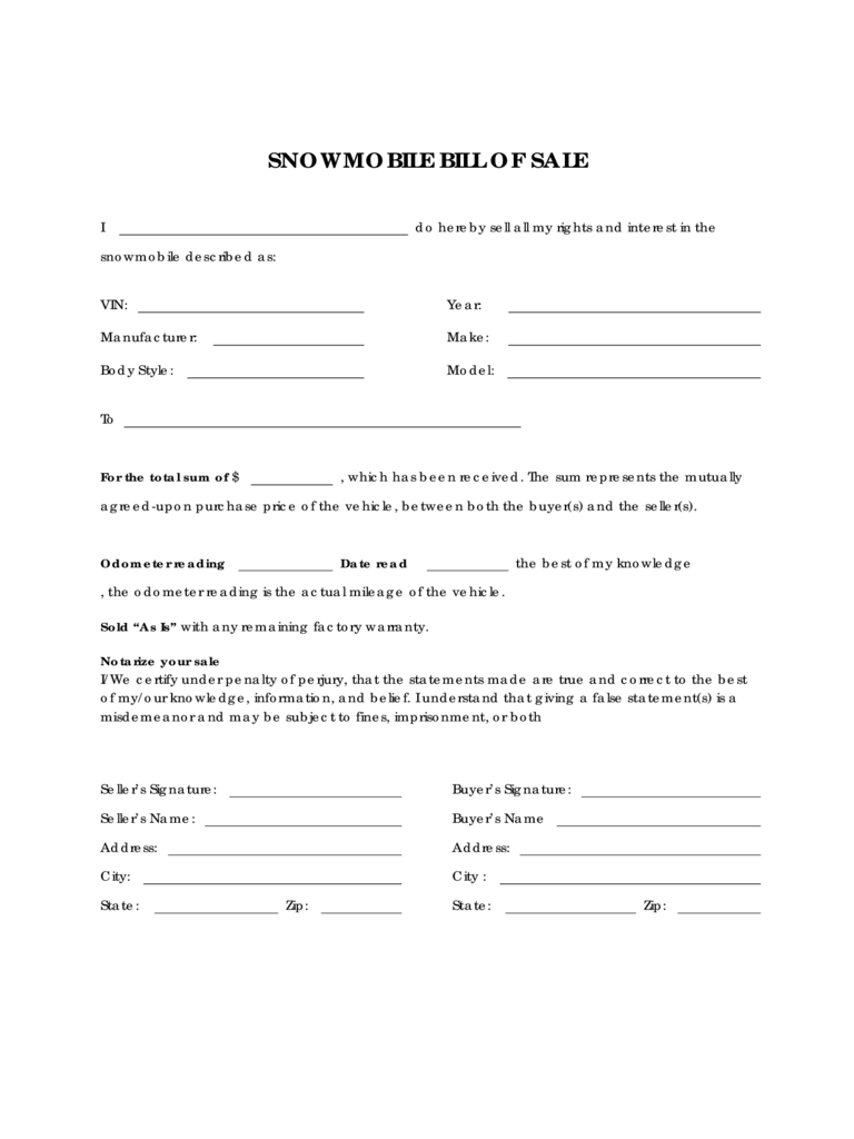 Snowmobile Bill Of Sale Form Sample  Bill Of Sale Template Doc