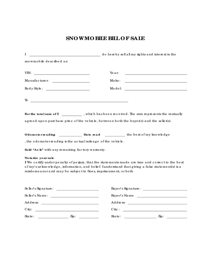 Snowmobile Bill of Sale Form Sample