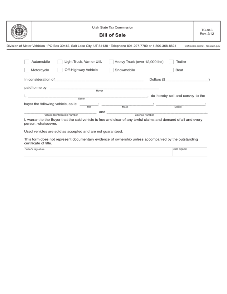 utah state bill of sale Snowmobile Bill of Sale Form - Utah Free Download