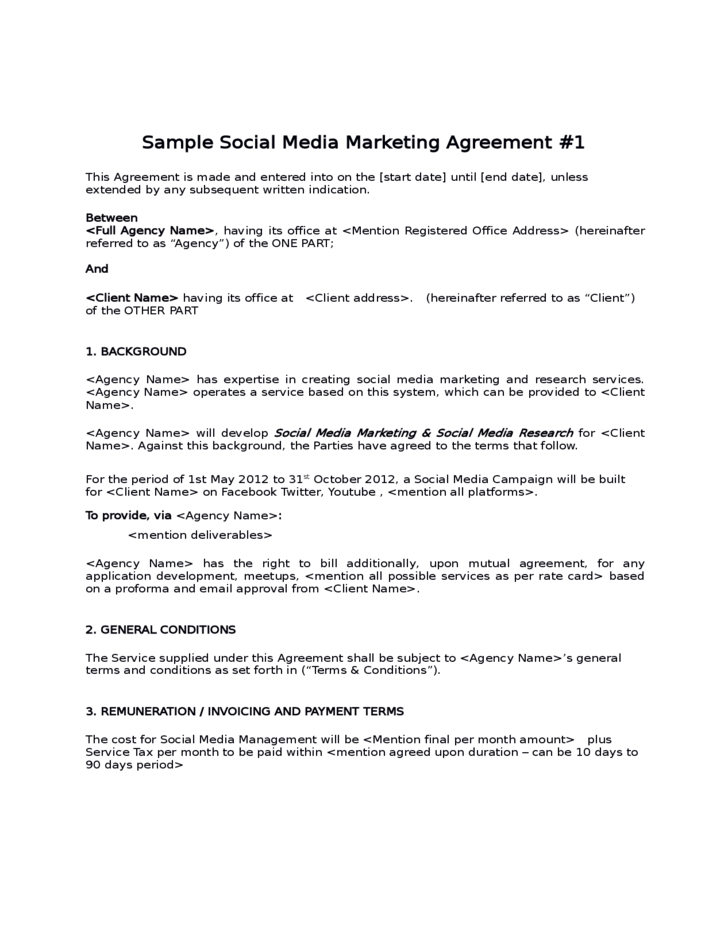 Sample Social Media Marketing Agreement