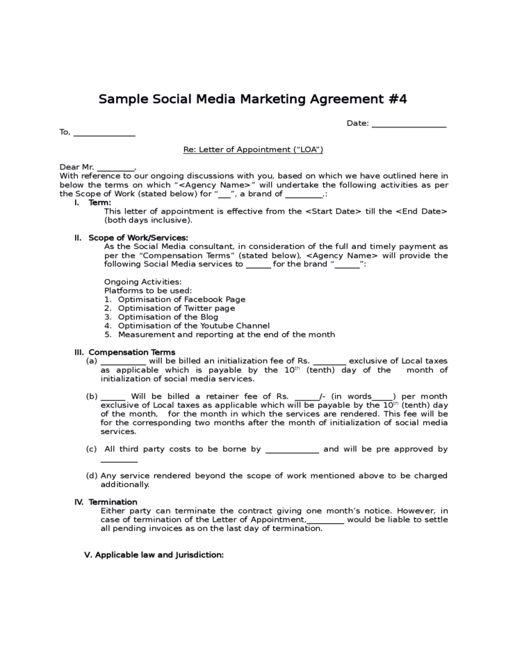 Sample social media marketing agreement free download for Marketing consultant contract template