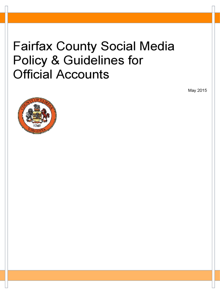 Fairfax County Social Media Policy & Guidelines for Official Accounts Free Download