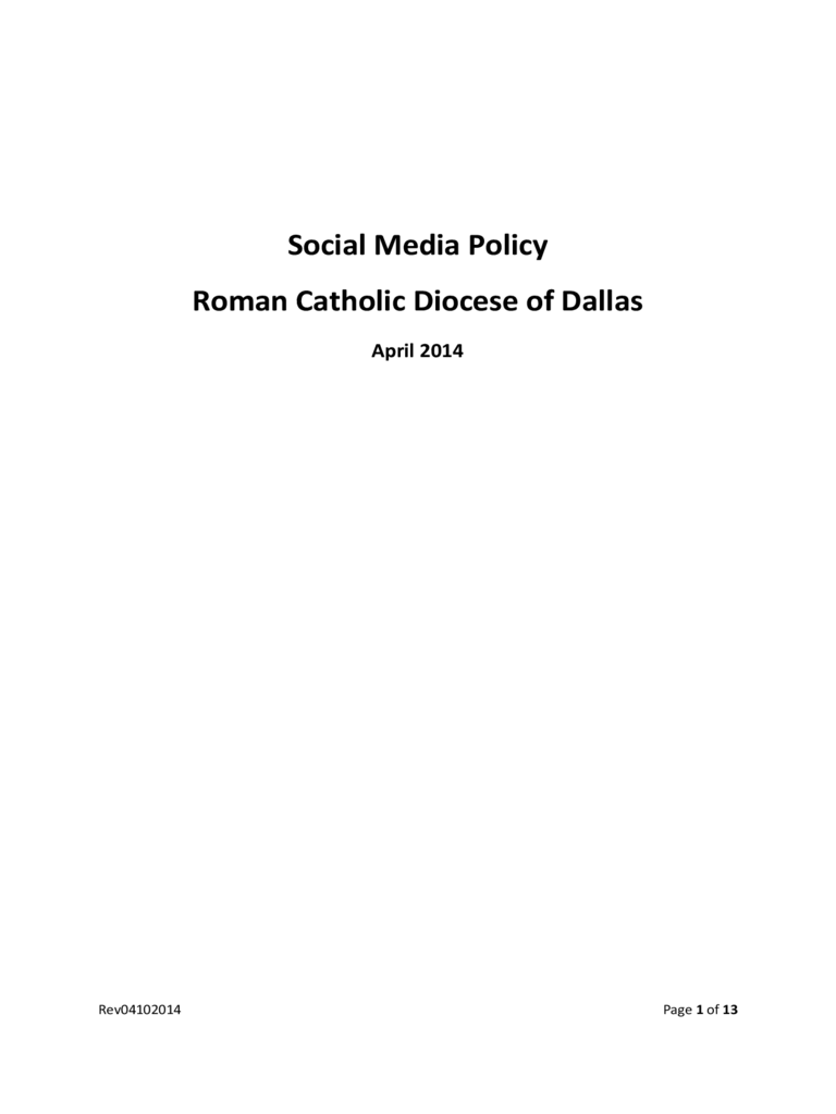 Social Media Policy Roman Catholic Diocese of Dallas