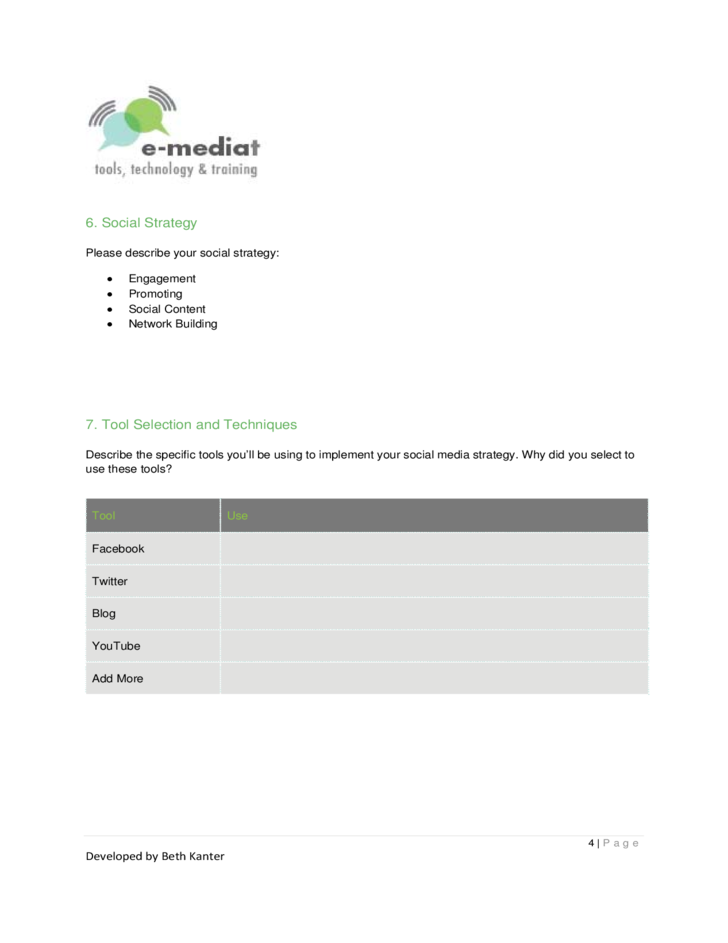 Social Media Strategy Plan Template Free Download