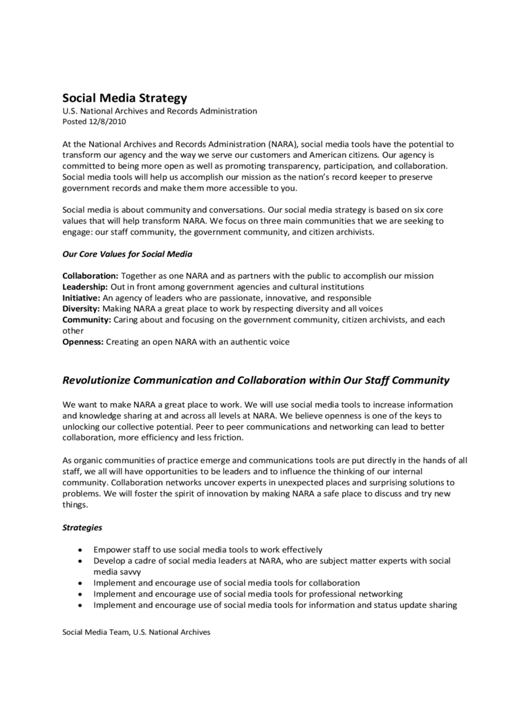 Social Media Strategy Free Download