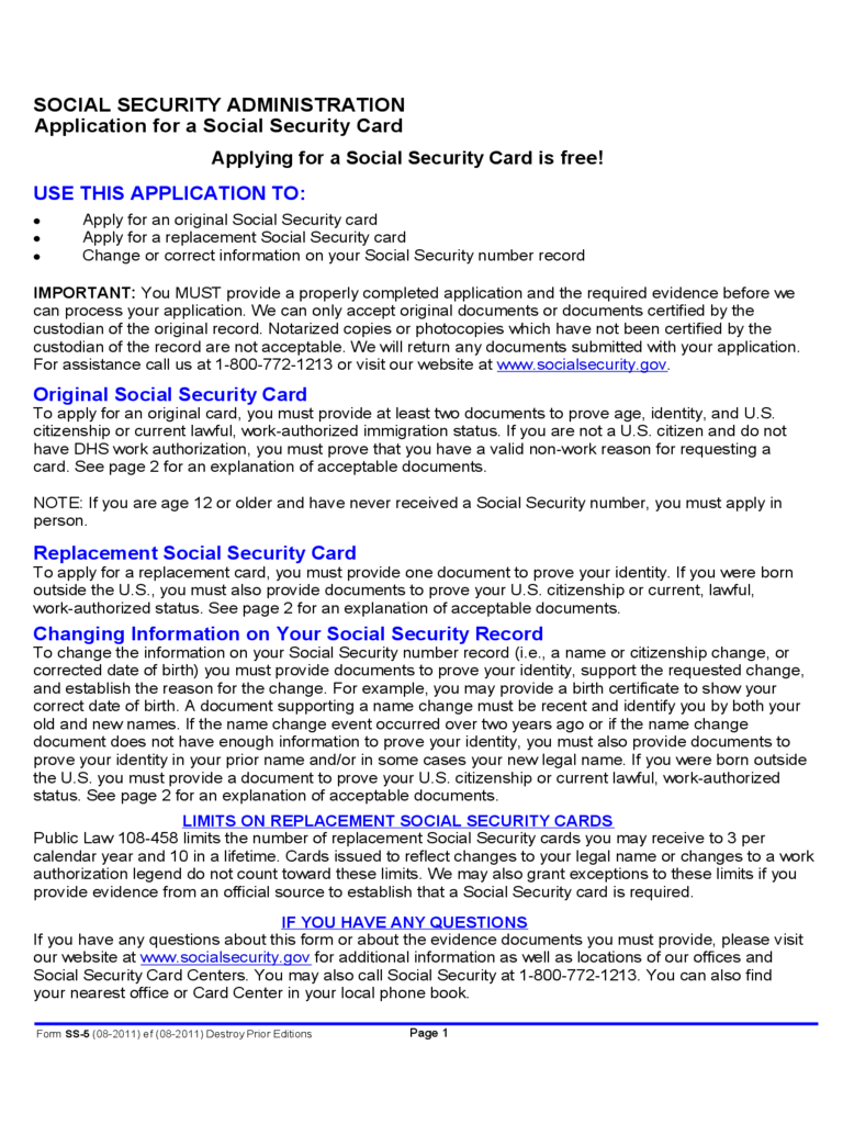 Application for a Social Security Card Free Download
