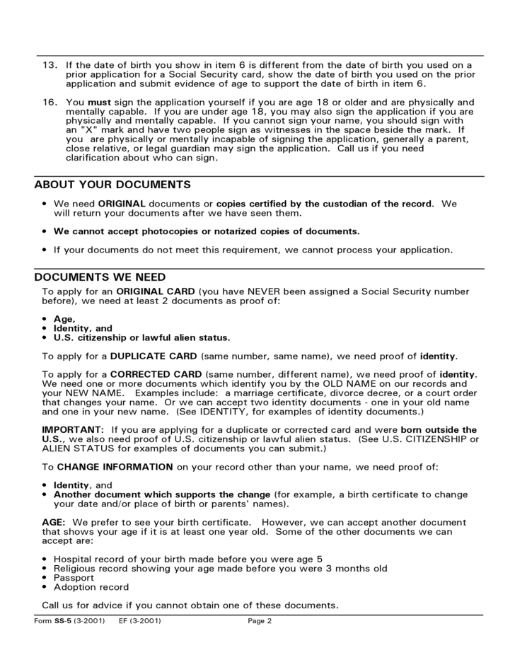 instructions and sample of application for a social security card free download