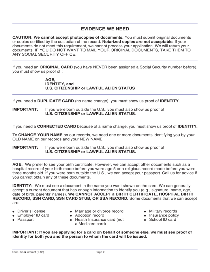 2 Social Security Card Application Form   Illinois