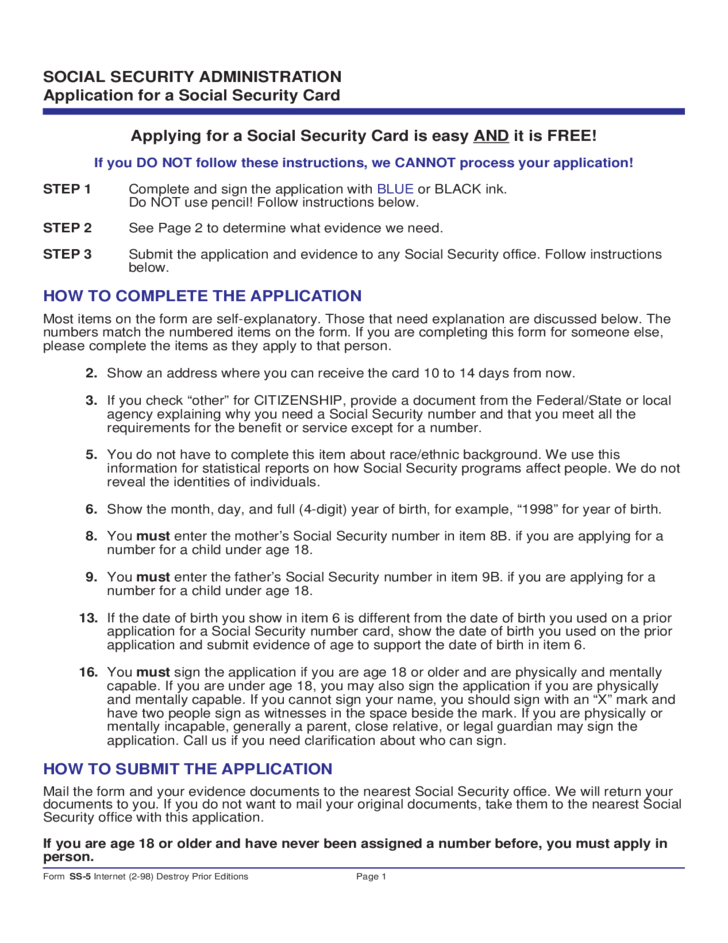 Social Security Form SS 5 Is Required Any Time You Request A New Or  Replacement Social Security Card From The Government.