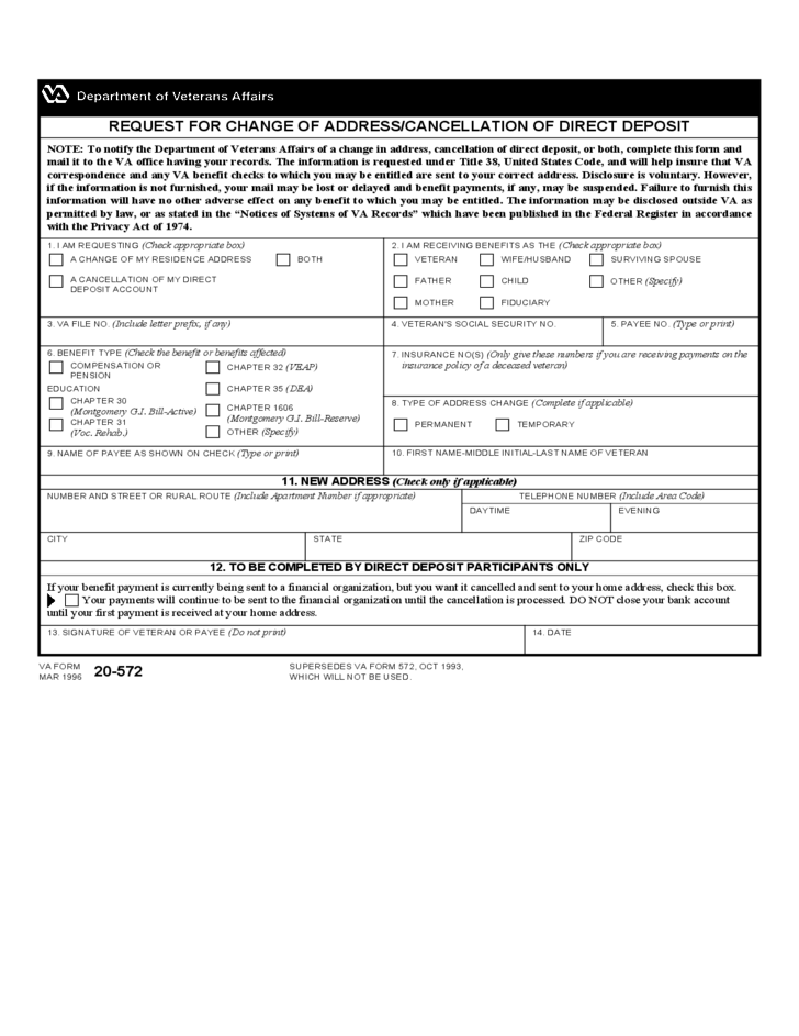 Request for Change of Address / Cancellation of Direct Deposit ...