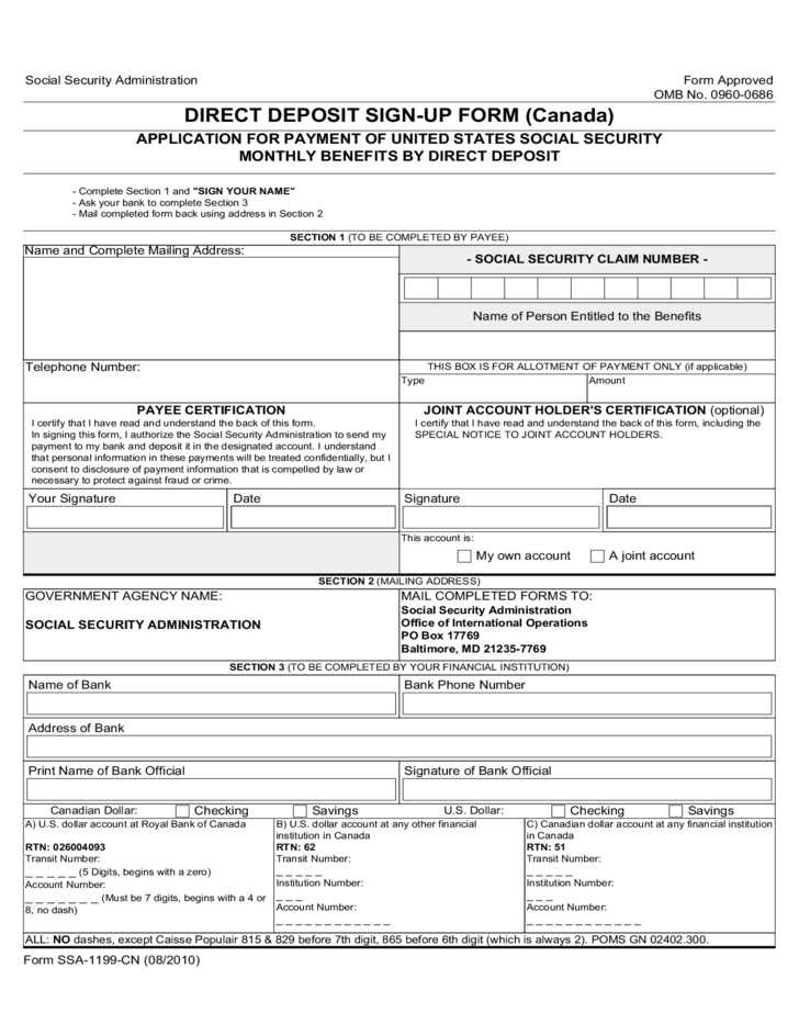 direct deposit form canada  Direct Deposit Sign-up Form - Canada Free Download